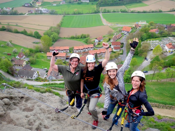 Climbing the castle in Riegersburg, Austria