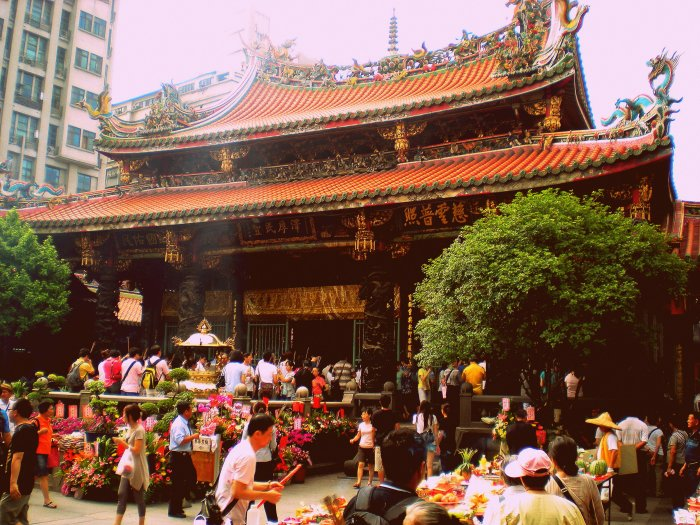 Traditional temple during a festival, Taiwan