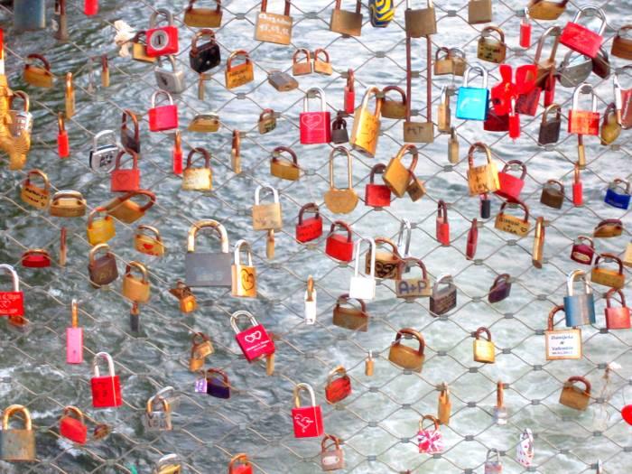 Locks on a bridge in Graz, Austria