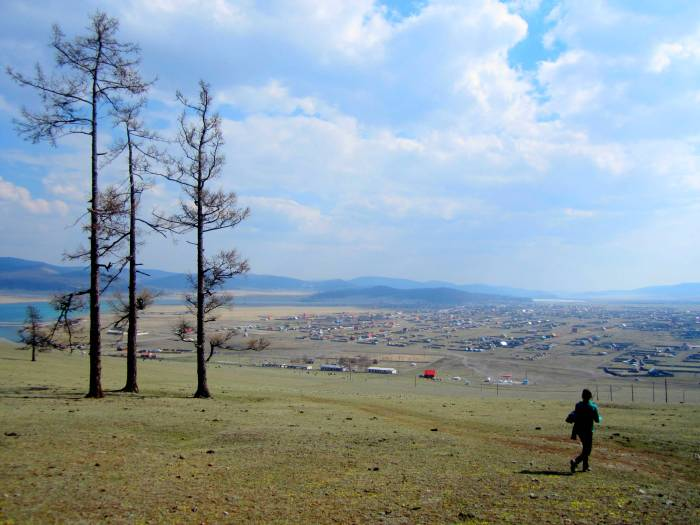 Walking back into Khatgal, Mongolia