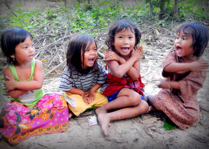 These Cambodian girls were singing and dancing