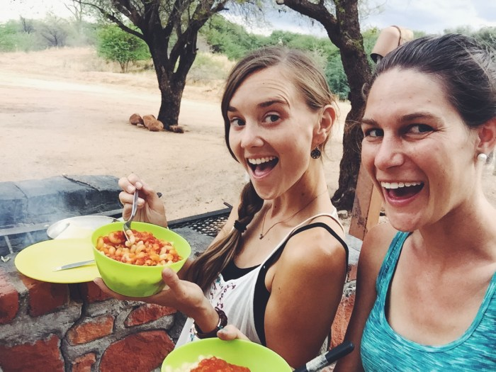 Waterberg, Namibia- proud of ourselves for cooking at the campsite