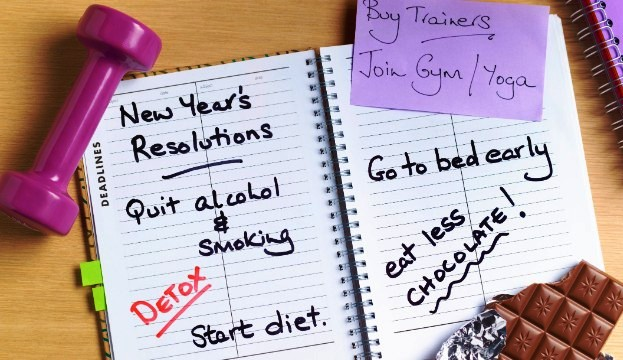 100 Easy-to-Follow New Year's Resolutions - Start diet, Quit smoking & alcohol, join gym/yoga...