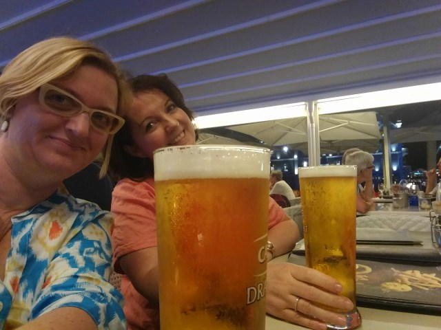2 researchers drink beer
