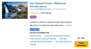 Check Availability on Recreation.gov for Inyo National Forest Wilderness Permits