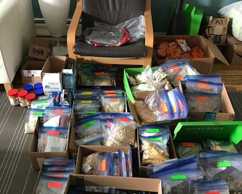 The remaining of the food for the entire trip is prepped and needs to be distributed for mail drops.