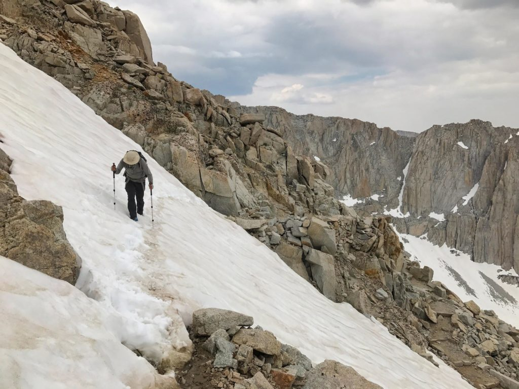 Traversing Whitney. The first steep snow crossing encountered during our JMT hike.