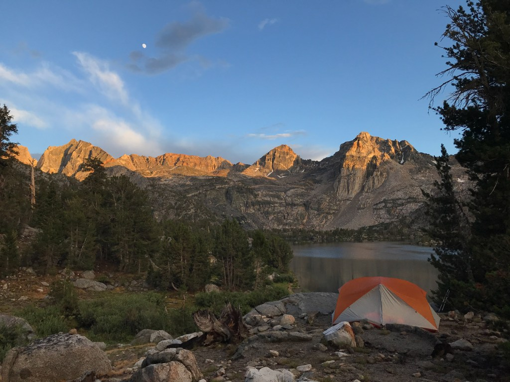 The sun sets over Rae Lakes bringing our campsite slowly into darkness.