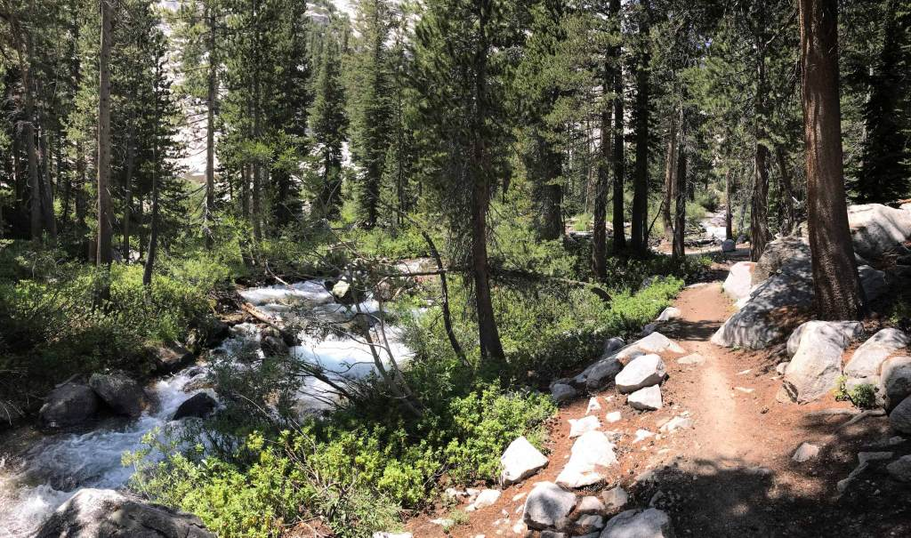 The Middle Fork Kings River parallels the JMT all the way out of LeConte Canyon.