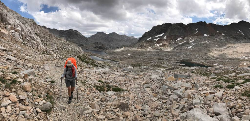 My husband takes a look back as we head northbound on the JMT; we are nearing the summing of Muir Pass.
