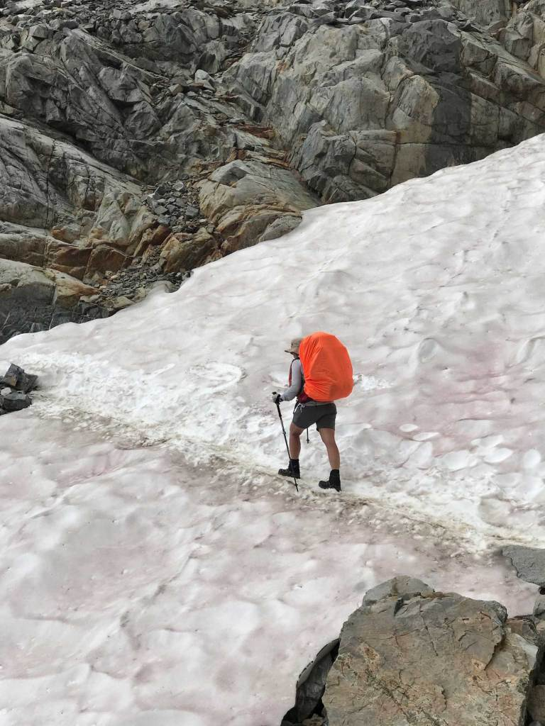 One of the few snowfields left on Muir Pass on July 31st, 2018.