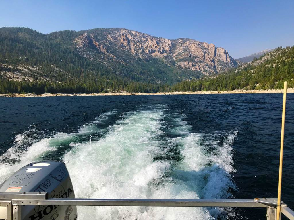 Aboard 'The Edison Queen,' looking back after being picked up from the John Muir Trail, heading to Vermilion Valley Ranch.