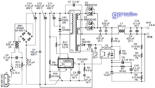 Схема блока на базе микросхем TOP242-249