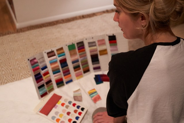 Emily reviewing swatches 1