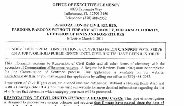Restoration Voting Rights Florida Form