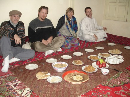Hunza meal with maltashtze giyaling or pancakes prepared when a daughter visits her family after a wedding