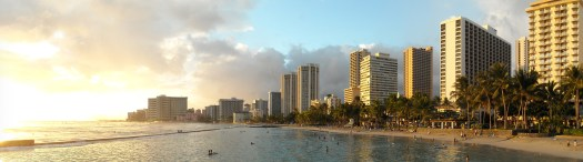 A picture of Waikiki on the island of oahu