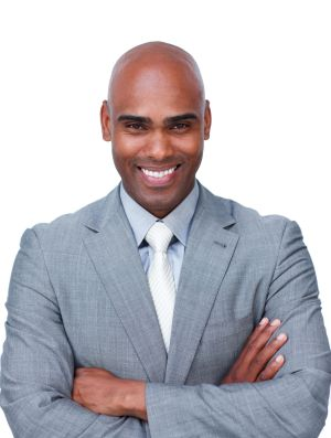 10070560 - confident afro-american businessman with folded arms