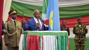 Burundi's President Pierre Nkurunziza is sworn in for a third term at a ceremony in the parliament in Bujumbura, Burundi, Thursday, Aug. 20, 2015. Photo Credit: Voice of America (VOA)