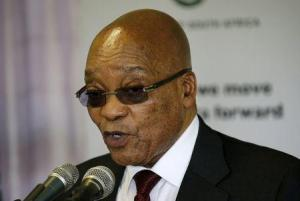 South Africa's President Jacob Zuma speaks during his visit to the Lodewyk P. Spies Old Age Home in Eersterust, Pretoria, December 15, 2015. REUTERS/Siphiwe Sibeko