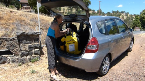 The kayak in backpack easily fits in a small car.