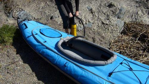 Finish pumping up the kayak