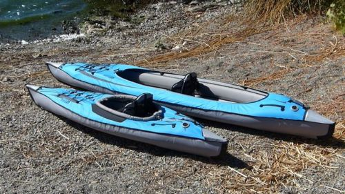 Convertible DS next to its sibling, the AdvancedFrame DS kayak
