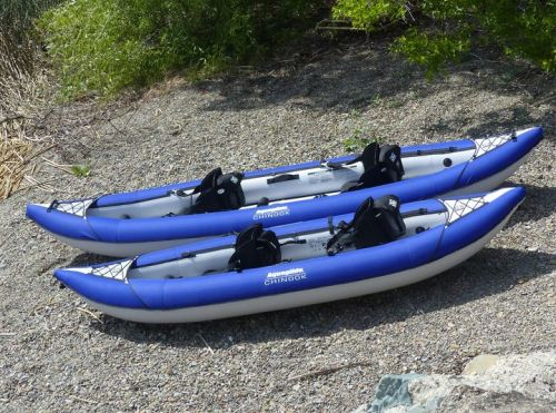 The Chinook 2 and Chinook Tandem inflatable kayaks.