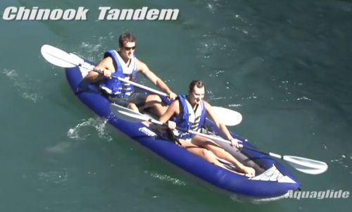 Chinook Tandem inflatable kayak paddled by two.