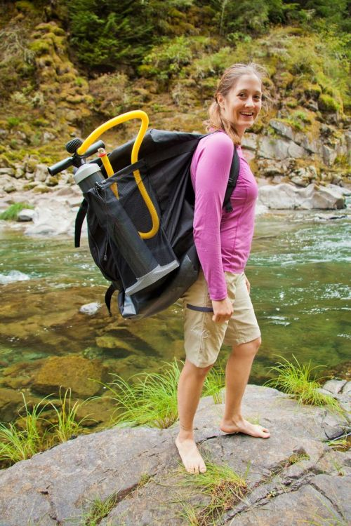 Included backpack with Columbia HB series inflatable kayaks.
