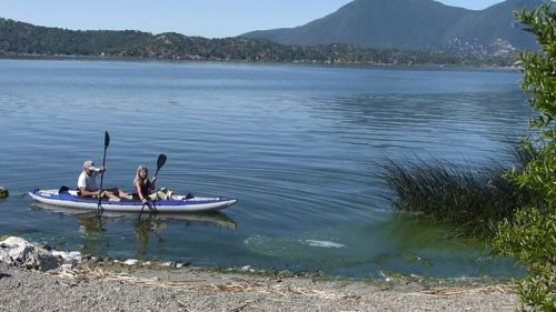 Columbia Tandem inflatable kayak paddled by two.