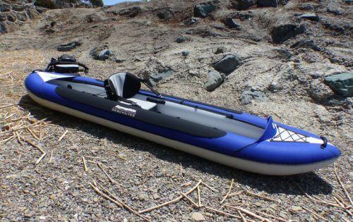 Deschutes Tandem inflatable kayak set up for solo paddling.