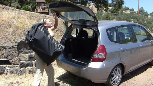 The Airis Stubby 9 easily fits in the trunk of a small car.