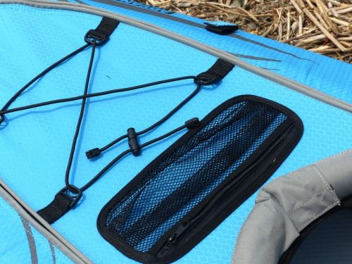 Front bungee deck lacing and mesh pocket