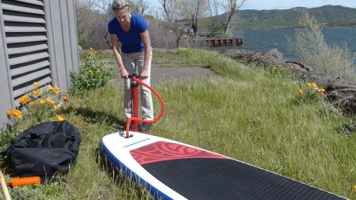 Pumping up the paddle board