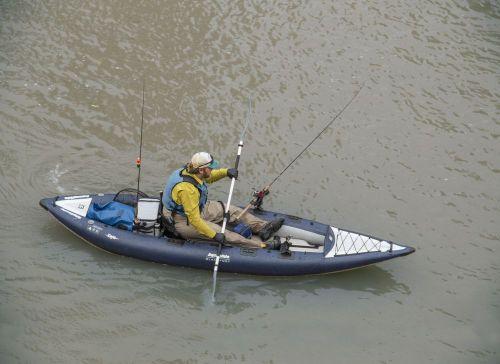 AquaGlide Blackfoot Angler XL set up for solo paddling.