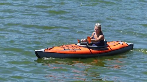AdvancedFrame Inflatable Kayak on the water.