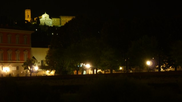 Evening view of San Miniato monastery from the front of our apartment building