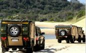 We see groups like this a lot. Some destinations are too remote to travel alone and having a buddy-system for winching out of deep sand or mud is mandatory (courtesy of www.conqueror.co.za)