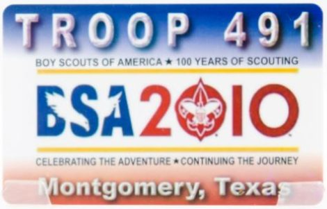 Fundraising Card for Montgonery TX Boy Scouts
