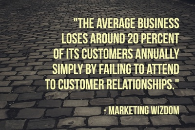 """The average business loses around 20 percent of its customers annually simply by failing to attend to customer relationships."" - Marketing Wizdom"