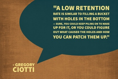 """A low retention rate is similar to filling a bucket with holes in the bottom — sure, you could keep piling on to make up for it, or you could figure out what caused the holes and how you can patch them up."" - Gregory Ciotti"