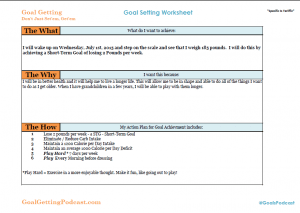 Goal Getting Worksheet - Goal Getting Podcast