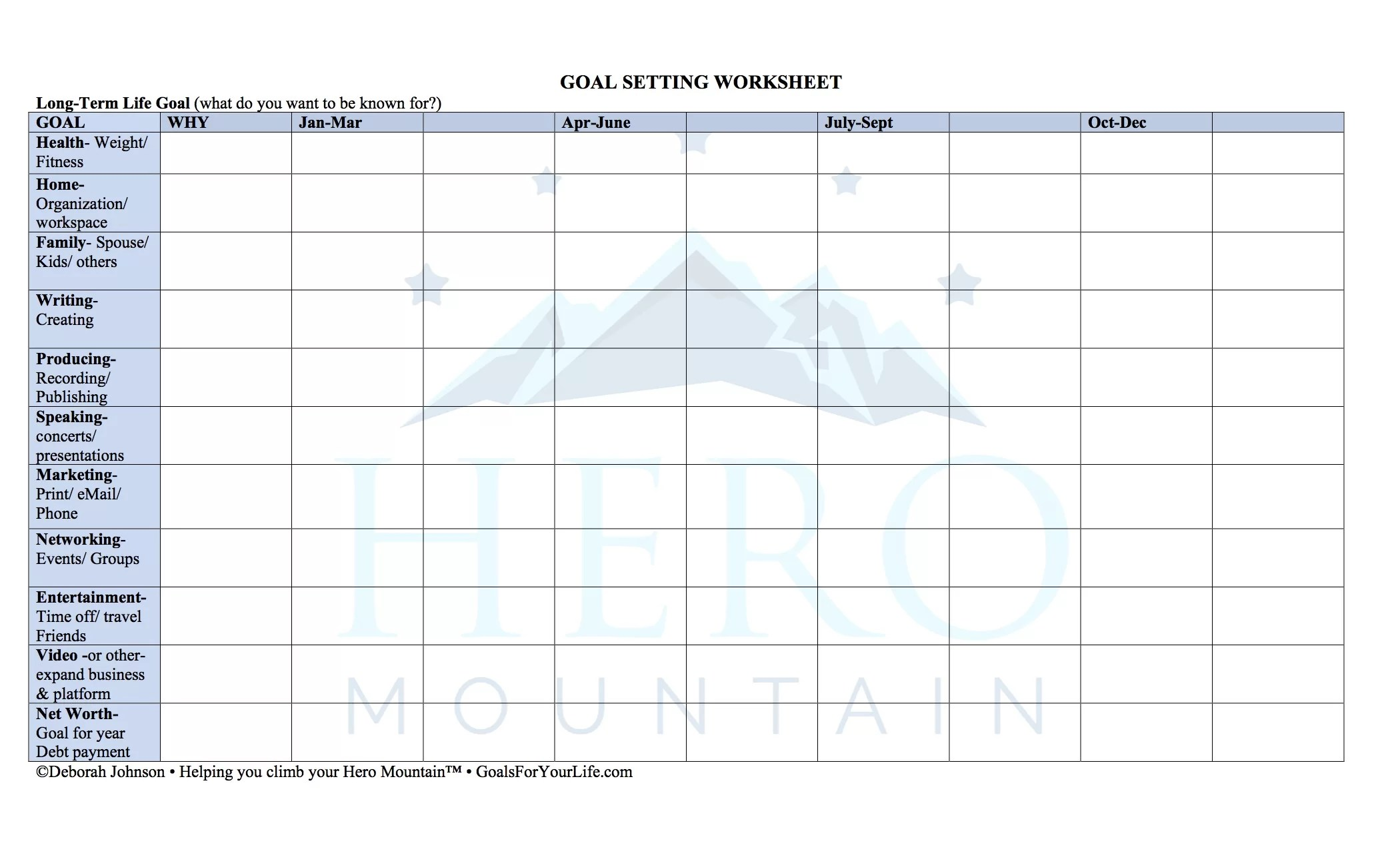 Goal Setting Worksheet Goals For Your Life Deborah Johnson