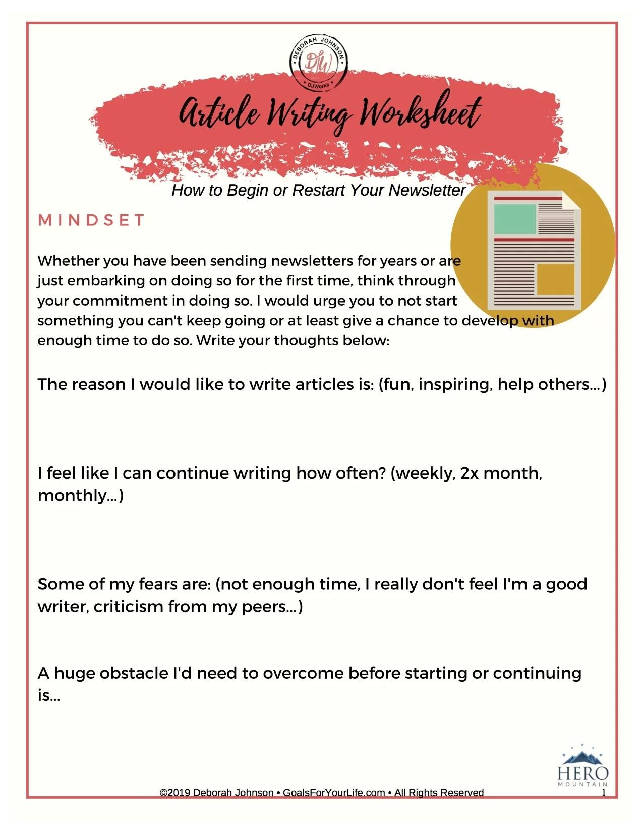 Article Writing Worksheet