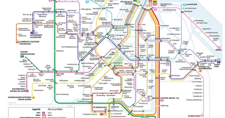 mapa metra i tramwajowa w Amsterdamie