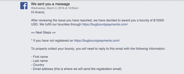 Facebook team replys to Anand Prakash Bengaluru hacker