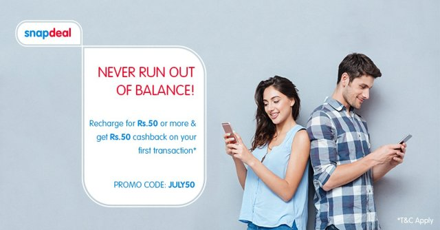 Snapdeal offering Rs.50 Cash Back for first time users