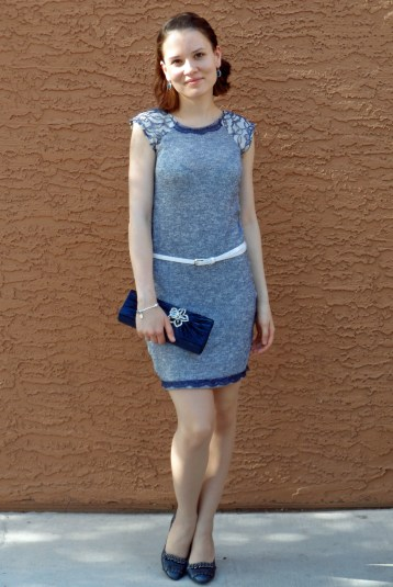 Blue knit dress 4