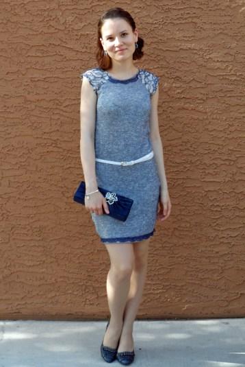 Blue knit dress 4